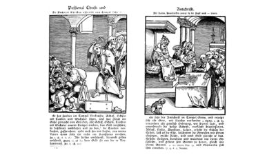 Christ & the money changers vs priests gathering offerings