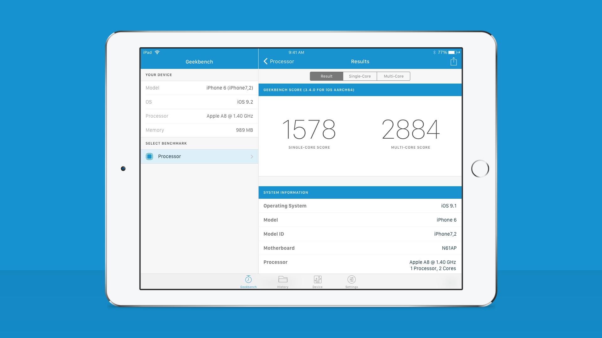 Geekbench 4: iPad App